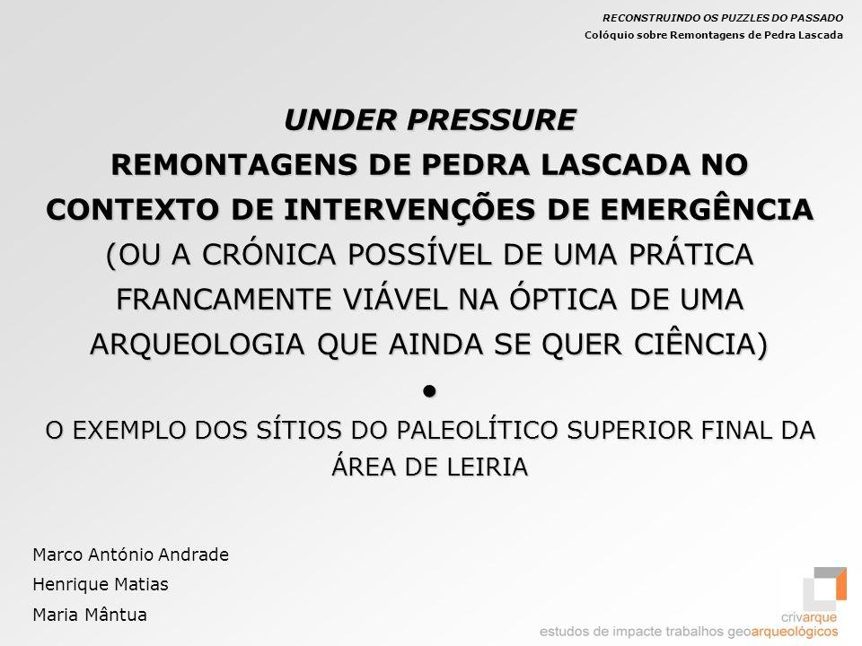 Cortes: Dispersão horizontal dos elementos remontados UNDER PRESSURE REMONTAGENS DE PEDRA LASCADA NO CONTEXTO DE INTERVENÇÕES DE EMERGÊNCIA