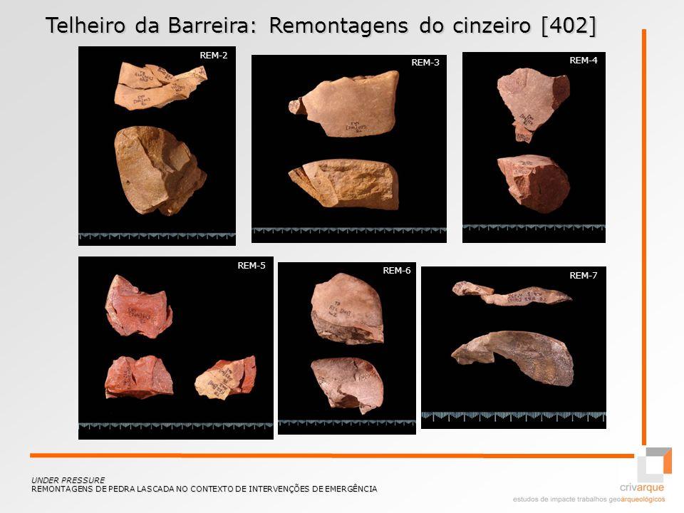 Telheiro da Barreira: Remontagens do cinzeiro [402] UNDER PRESSURE REMONTAGENS DE PEDRA LASCADA NO CONTEXTO DE INTERVENÇÕES DE EMERGÊNCIA REM-2 REM-3