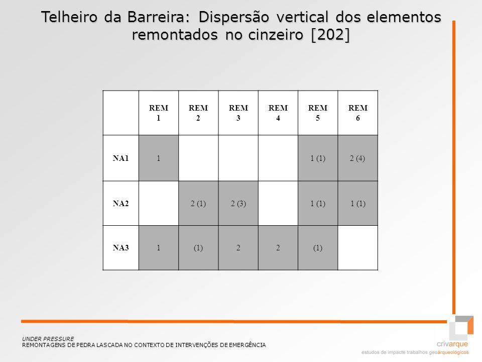 Telheiro da Barreira: Dispersão vertical dos elementos remontados no cinzeiro [202] UNDER PRESSURE REMONTAGENS DE PEDRA LASCADA NO CONTEXTO DE INTERVE