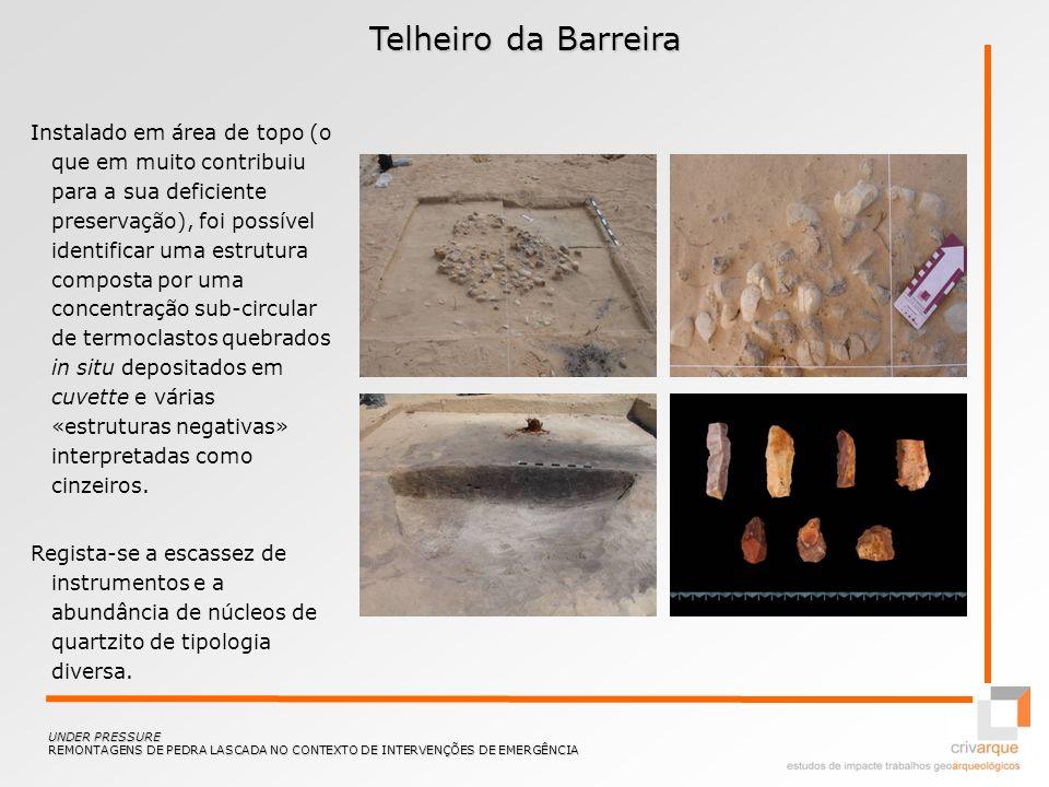 Telheiro da Barreira Instalado em área de topo (o que em muito contribuiu para a sua deficiente preservação), foi possível identificar uma estrutura c