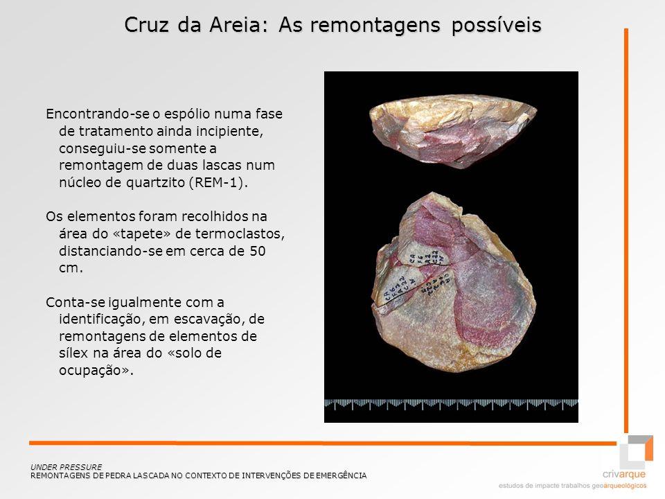 Cruz da Areia: As remontagens possíveis Encontrando-se o espólio numa fase de tratamento ainda incipiente, conseguiu-se somente a remontagem de duas l