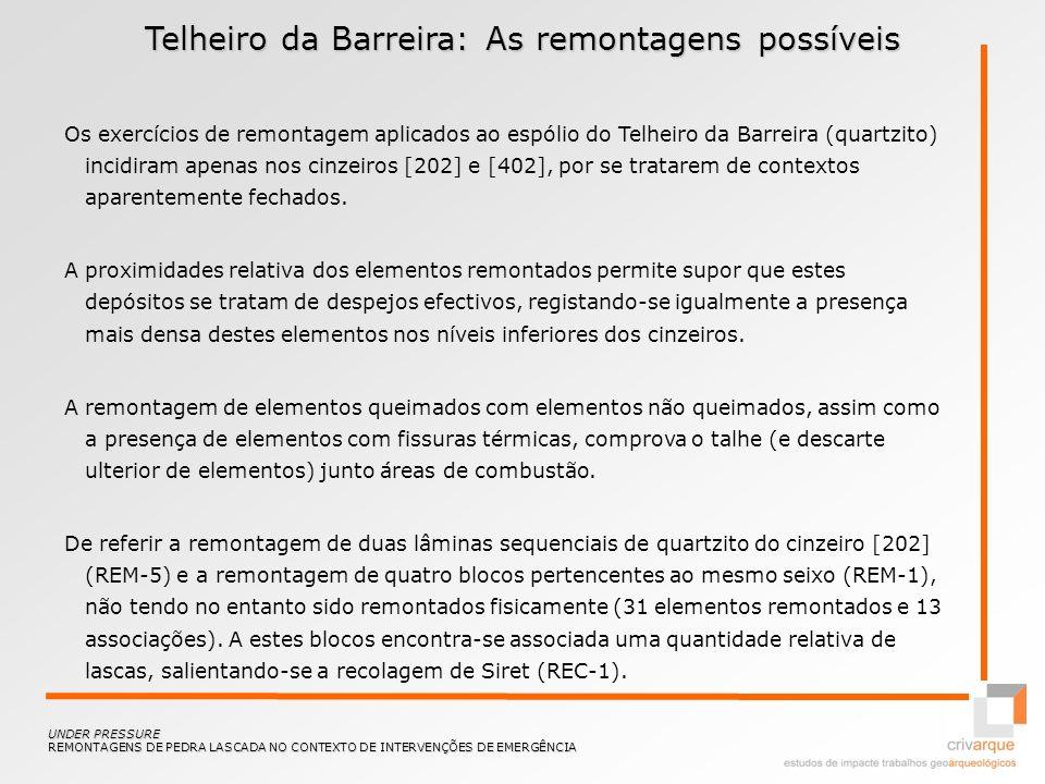 Telheiro da Barreira: Remontagens do cinzeiro [202] UNDER PRESSURE REMONTAGENS DE PEDRA LASCADA NO CONTEXTO DE INTERVENÇÕES DE EMERGÊNCIA REM-1 REM-2 REM-3 REM-4 REM-5 REM-6 REC-1