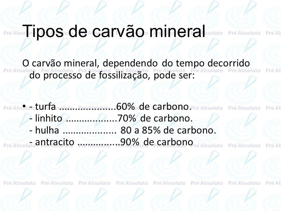 Tipos de carvão mineral O carvão mineral, dependendo do tempo decorrido do processo de fossilização, pode ser: - turfa.....................60% de carb