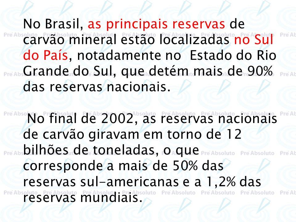 No Brasil, as principais reservas de carvão mineral estão localizadas no Sul do País, notadamente no Estado do Rio Grande do Sul, que detém mais de 90
