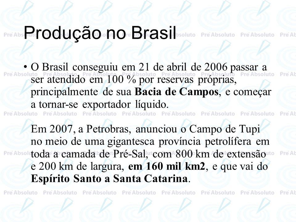 Produção no Brasil O Brasil conseguiu em 21 de abril de 2006 passar a ser atendido em 100 % por reservas próprias, principalmente de sua Bacia de Camp