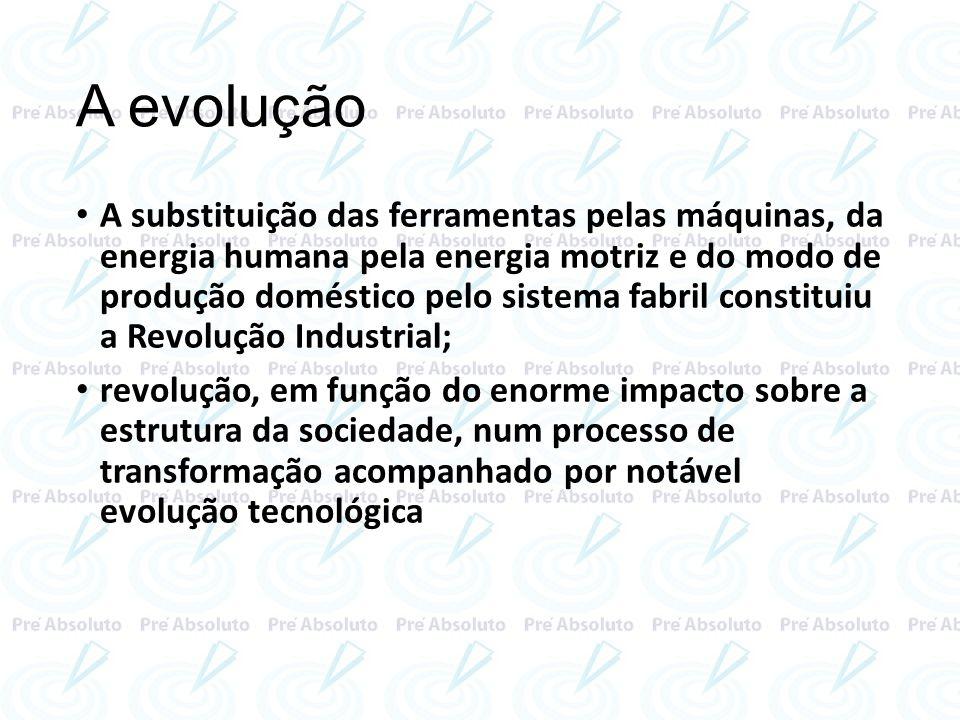 A evolução A substituição das ferramentas pelas máquinas, da energia humana pela energia motriz e do modo de produção doméstico pelo sistema fabril co