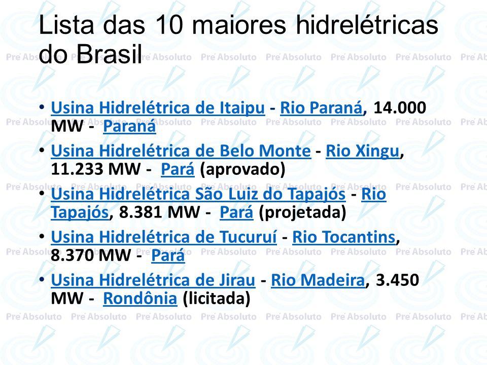 Lista das 10 maiores hidrelétricas do Brasil Usina Hidrelétrica de Itaipu - Rio Paraná, 14.000 MW - Paraná Usina Hidrelétrica de ItaipuRio ParanáParan