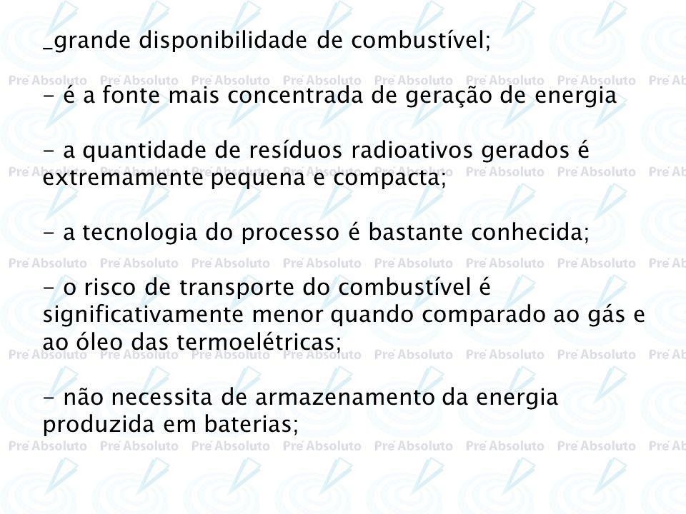 _grande disponibilidade de combustível; - é a fonte mais concentrada de geração de energia - a quantidade de resíduos radioativos gerados é extremamen