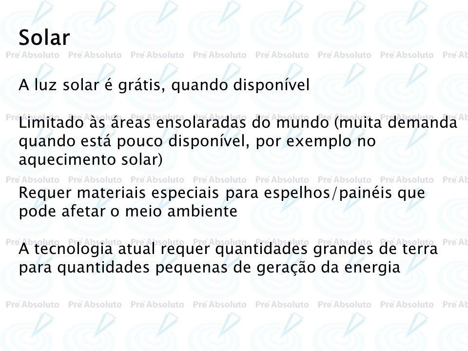 A luz solar é grátis, quando disponível Limitado às áreas ensolaradas do mundo (muita demanda quando está pouco disponível, por exemplo no aquecimento