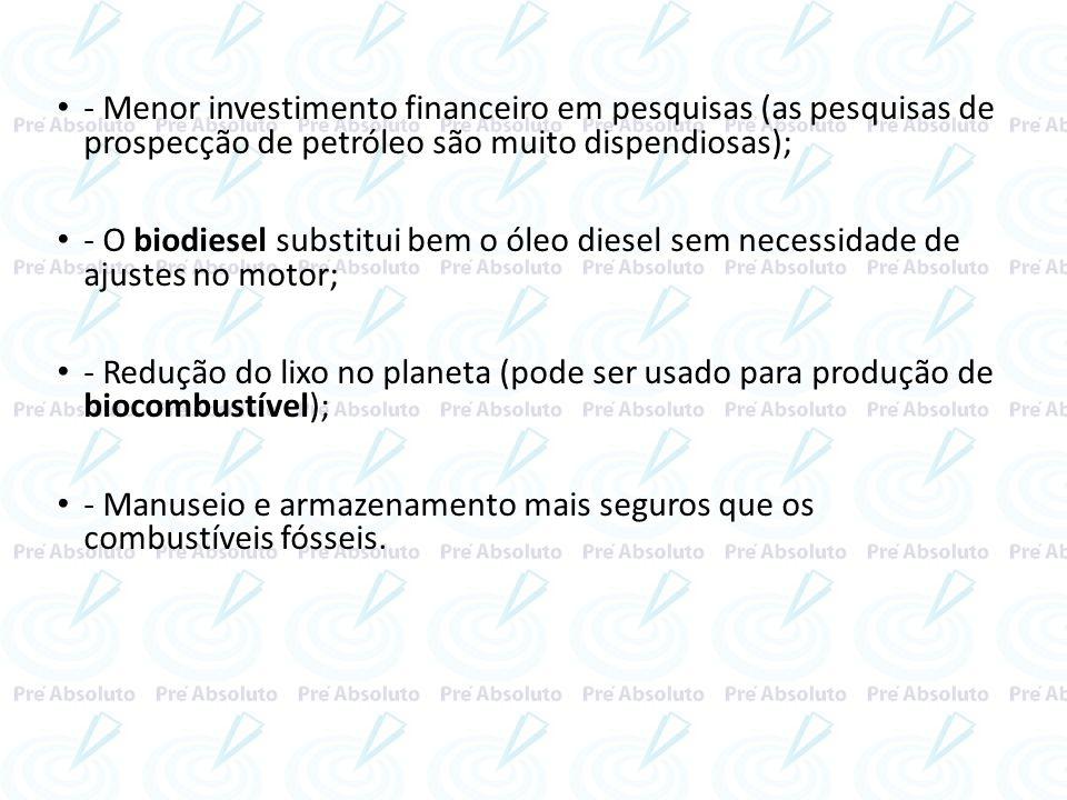 - Menor investimento financeiro em pesquisas (as pesquisas de prospecção de petróleo são muito dispendiosas); - O biodiesel substitui bem o óleo diese