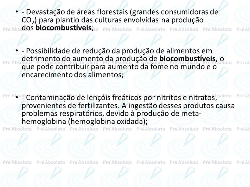 - Devastação de áreas florestais (grandes consumidoras de CO 2 ) para plantio das culturas envolvidas na produção dos biocombustíveis; - Possibilidade