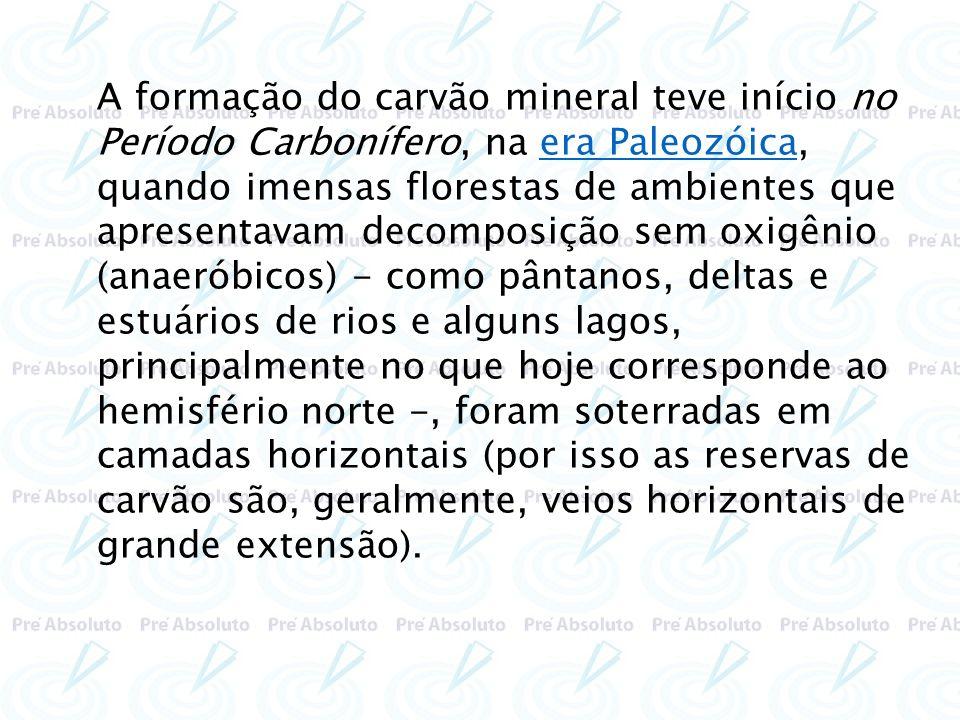 Tipos de carvão mineral O carvão mineral, dependendo do tempo decorrido do processo de fossilização, pode ser: - turfa.....................60% de carbono.