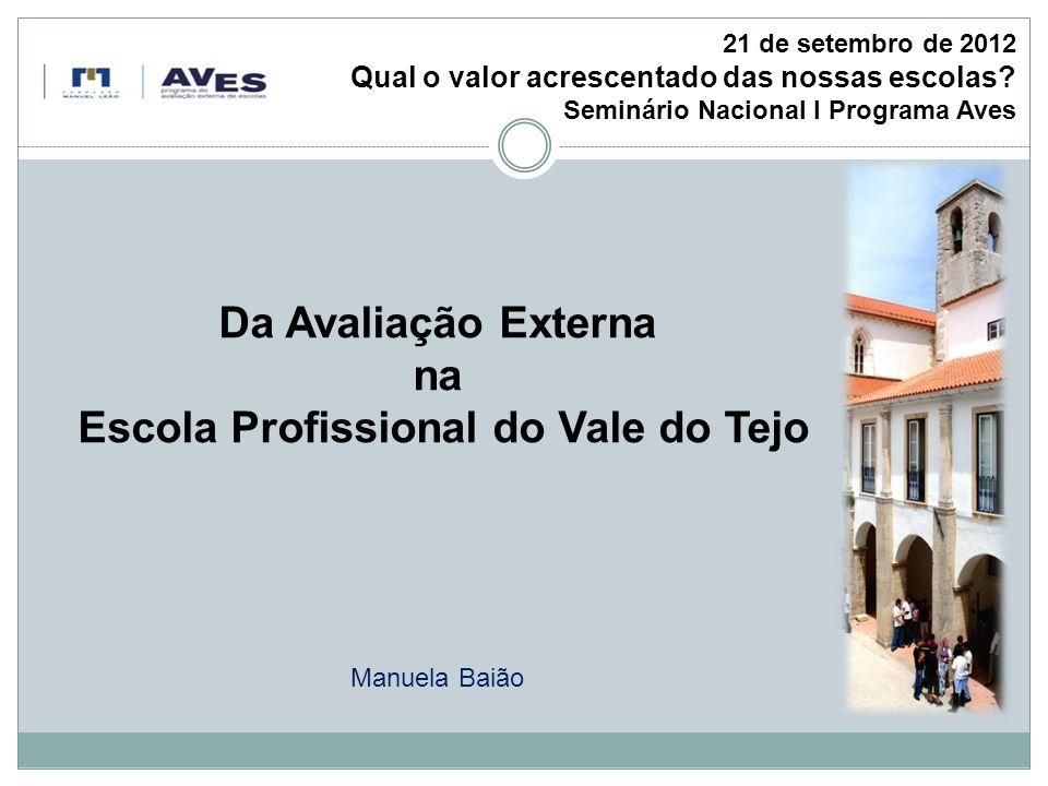 Da Avaliação Externa na Escola Profissional do Vale do Tejo Manuela Baião 21 de setembro de 2012 Qual o valor acrescentado das nossas escolas.