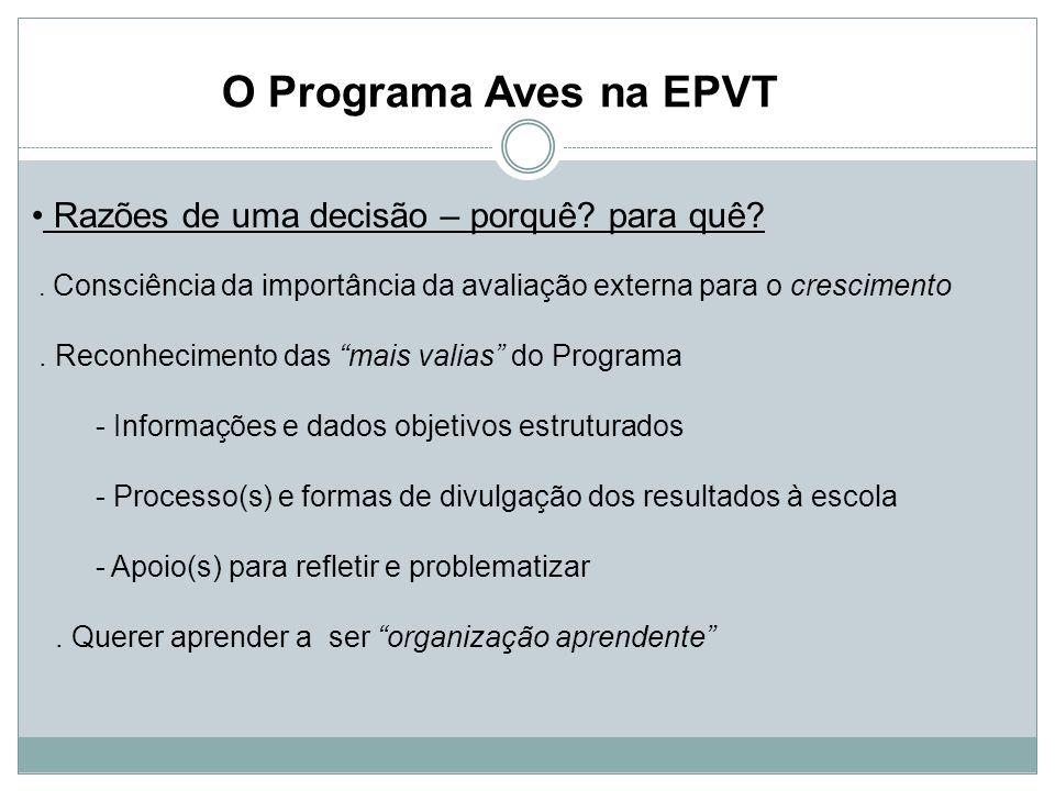 O Programa Aves na EPVT Razões de uma decisão – porquê.