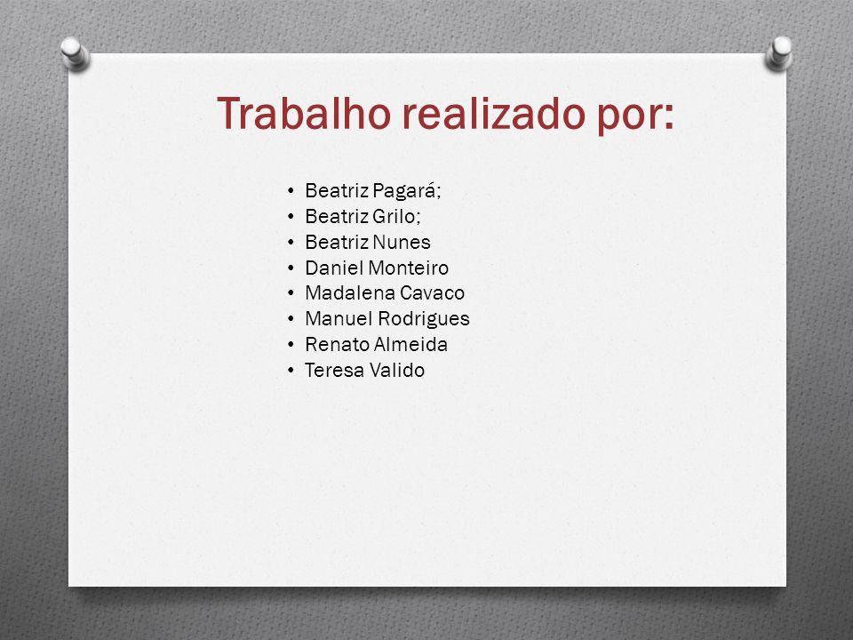 Trabalho realizado por: Beatriz Pagará; Beatriz Grilo; Beatriz Nunes Daniel Monteiro Madalena Cavaco Manuel Rodrigues Renato Almeida Teresa Valido
