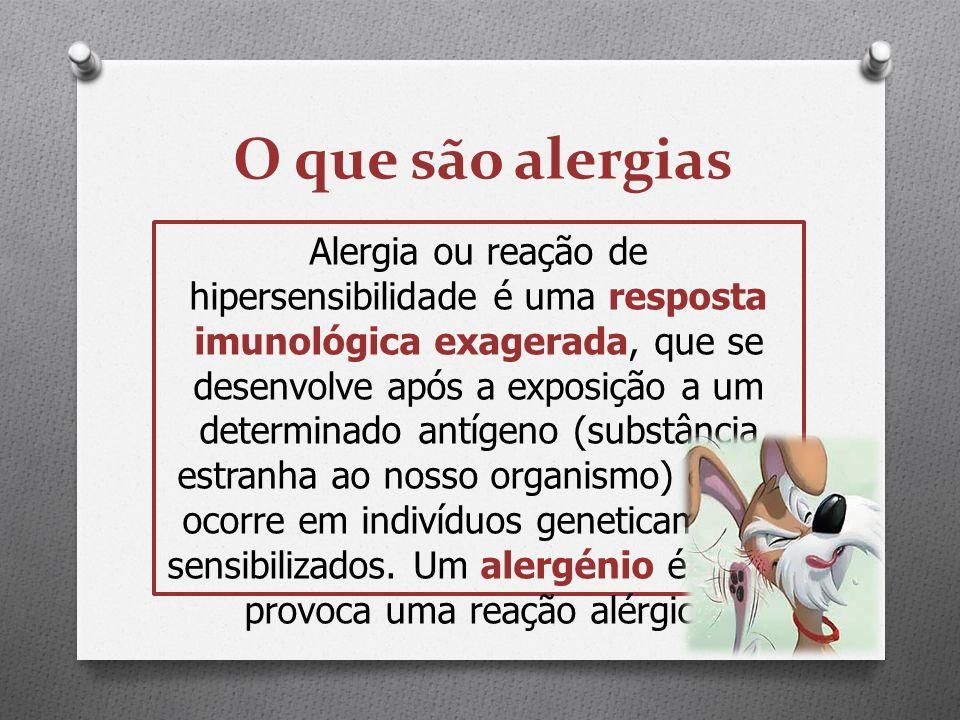 O que são alergias Alergia ou reação de hipersensibilidade é uma resposta imunológica exagerada, que se desenvolve após a exposição a um determinado a