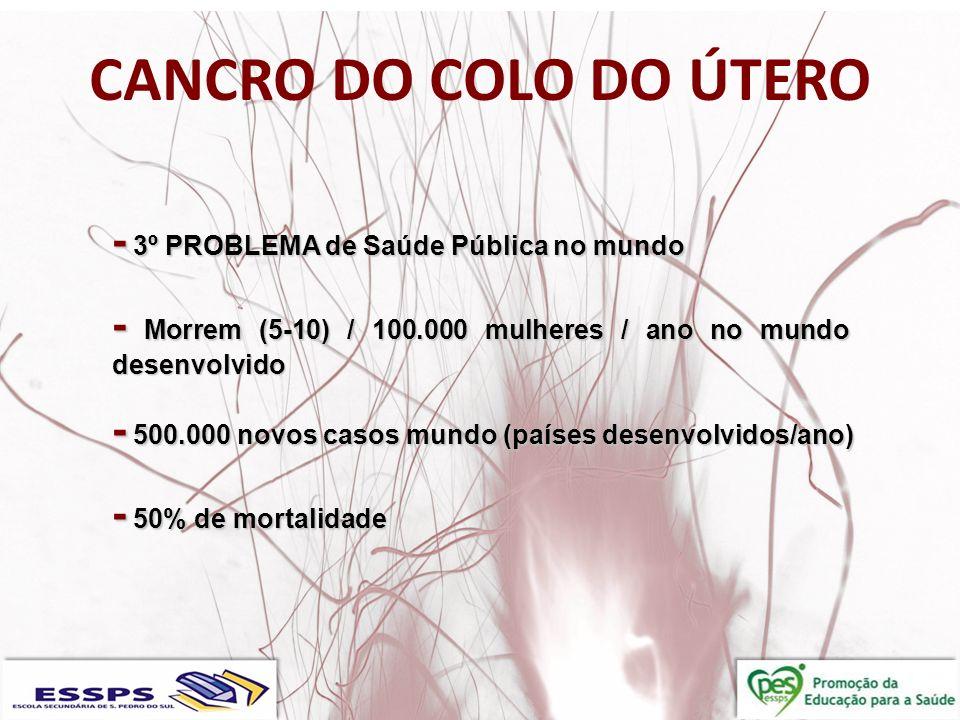 CANCRO DO COLO DO ÚTERO - 3º PROBLEMA de Saúde Pública no mundo - Morrem (5-10) / 100.000 mulheres / ano no mundo desenvolvido - 500.000 novos casos m