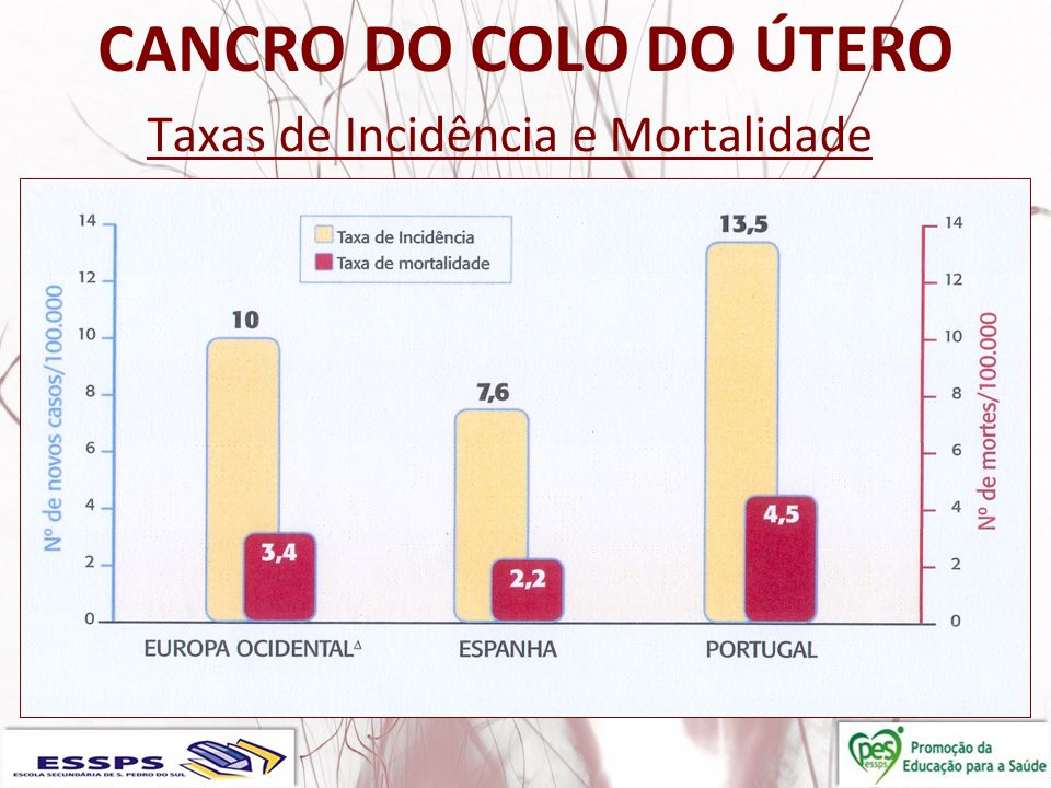 CANCRO DO COLO DO ÚTERO Taxas de Incidência e Mortalidade
