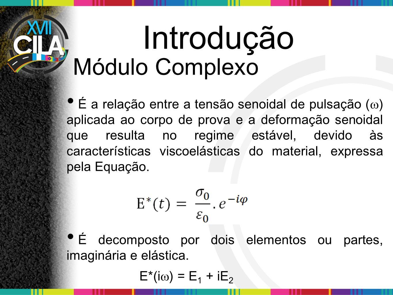 Introdução Módulo Complexo É a relação entre a tensão senoidal de pulsação ( ) aplicada ao corpo de prova e a deformação senoidal que resulta no regim