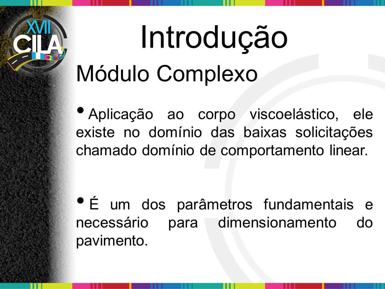 Introdução Módulo Complexo Aplicação ao corpo viscoelástico, ele existe no domínio das baixas solicitações chamado domínio de comportamento linear. É