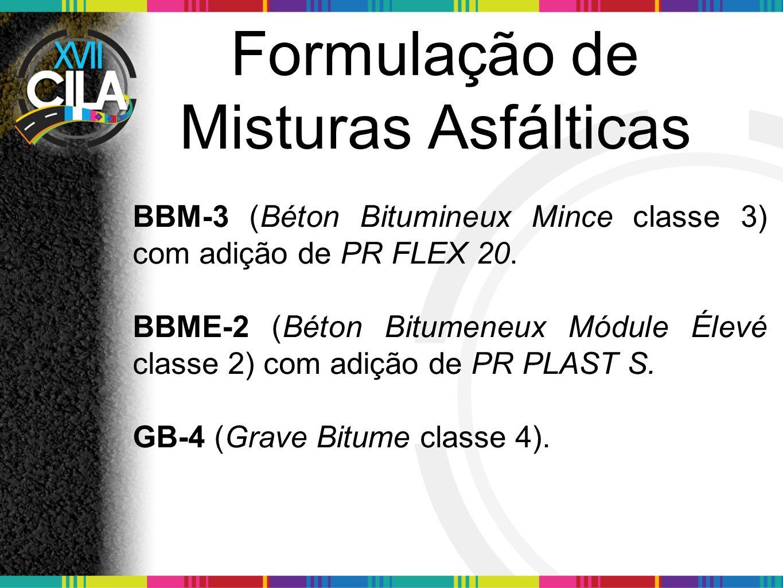 Formulação de Misturas Asfálticas BBM-3 (Béton Bitumineux Mince classe 3) com adição de PR FLEX 20. BBME-2 (Béton Bitumeneux Módule Élevé classe 2) co