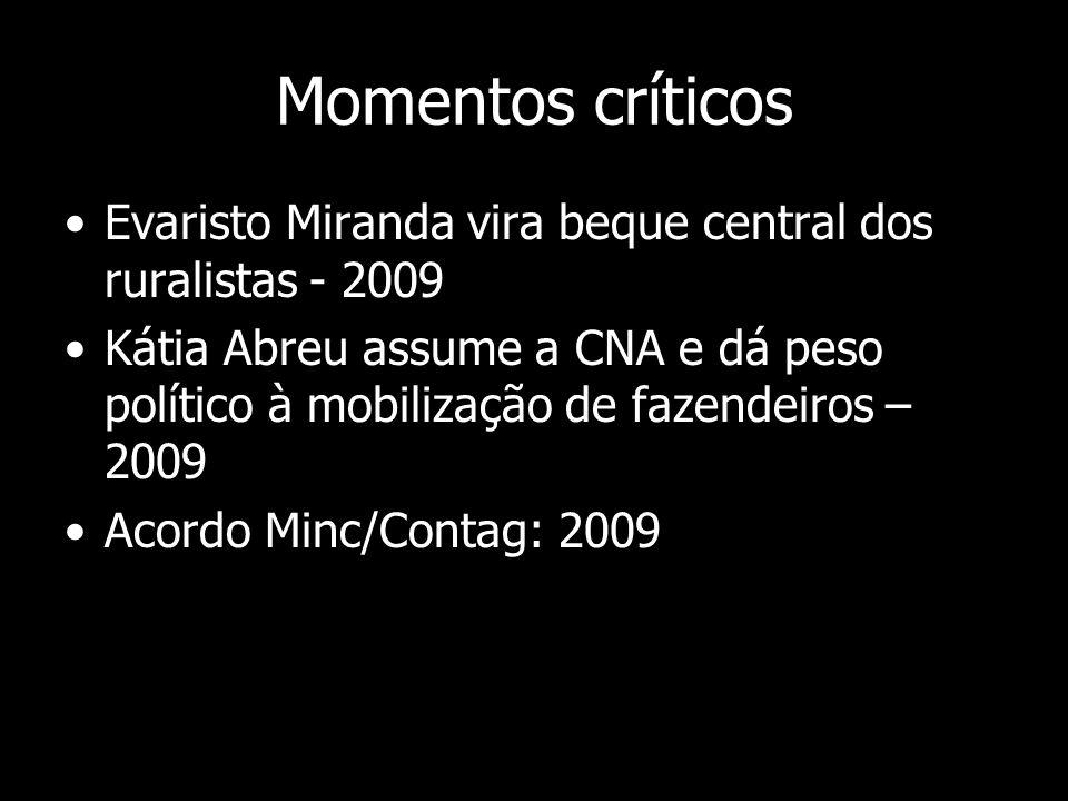 Momentos críticos Evaristo Miranda vira beque central dos ruralistas - 2009 Kátia Abreu assume a CNA e dá peso político à mobilização de fazendeiros –