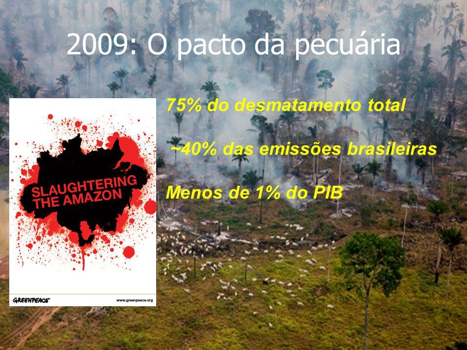 2009: O pacto da pecuária 75% do desmatamento total ~40% das emissões brasileiras Menos de 1% do PIB