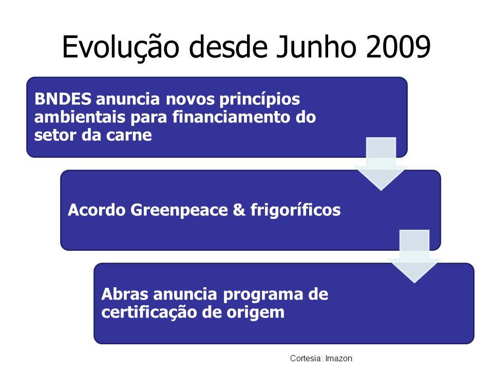 Evolução desde Junho 2009 BNDES anuncia novos princípios ambientais para financiamento do setor da carne Acordo Greenpeace & frigoríficos Abras anunci