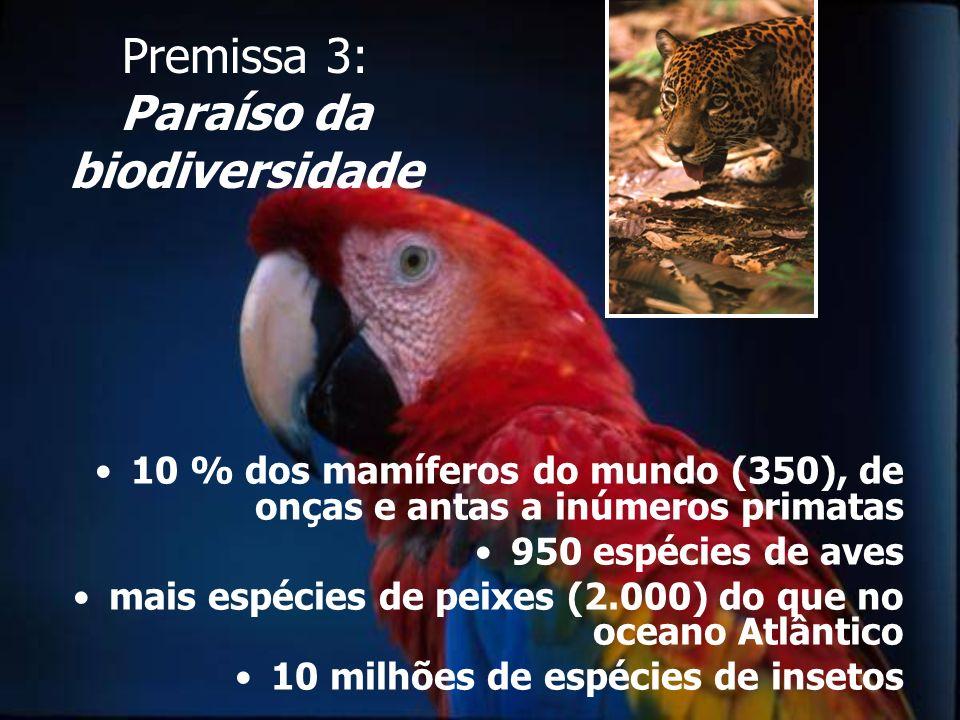 Premissa 3: Paraíso da biodiversidade 10 % dos mamíferos do mundo (350), de onças e antas a inúmeros primatas 950 espécies de aves mais espécies de pe