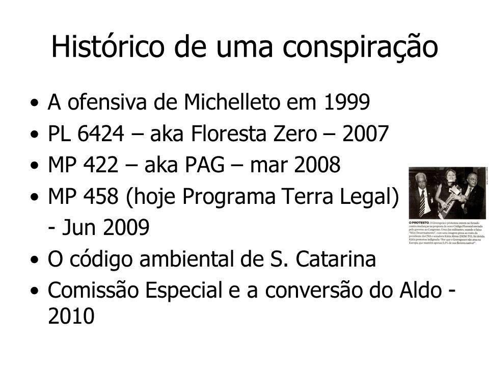 Histórico de uma conspiração A ofensiva de Michelleto em 1999 PL 6424 – aka Floresta Zero – 2007 MP 422 – aka PAG – mar 2008 MP 458 (hoje Programa Ter