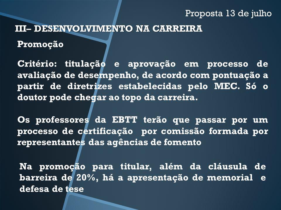 III– DESENVOLVIMENTO NA CARREIRA Proposta 13 de julho Promoção Critério: titulação e aprovação em processo de avaliação de desempenho, de acordo com p