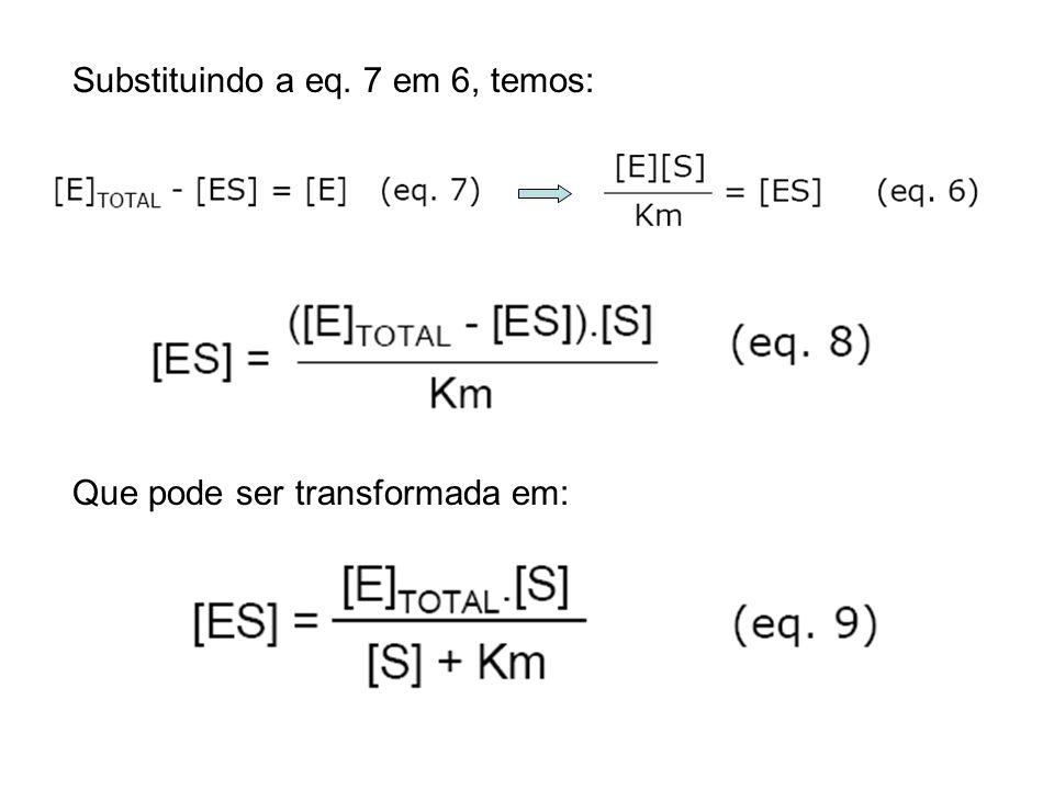 Substituindo a eq. 7 em 6, temos: Que pode ser transformada em: