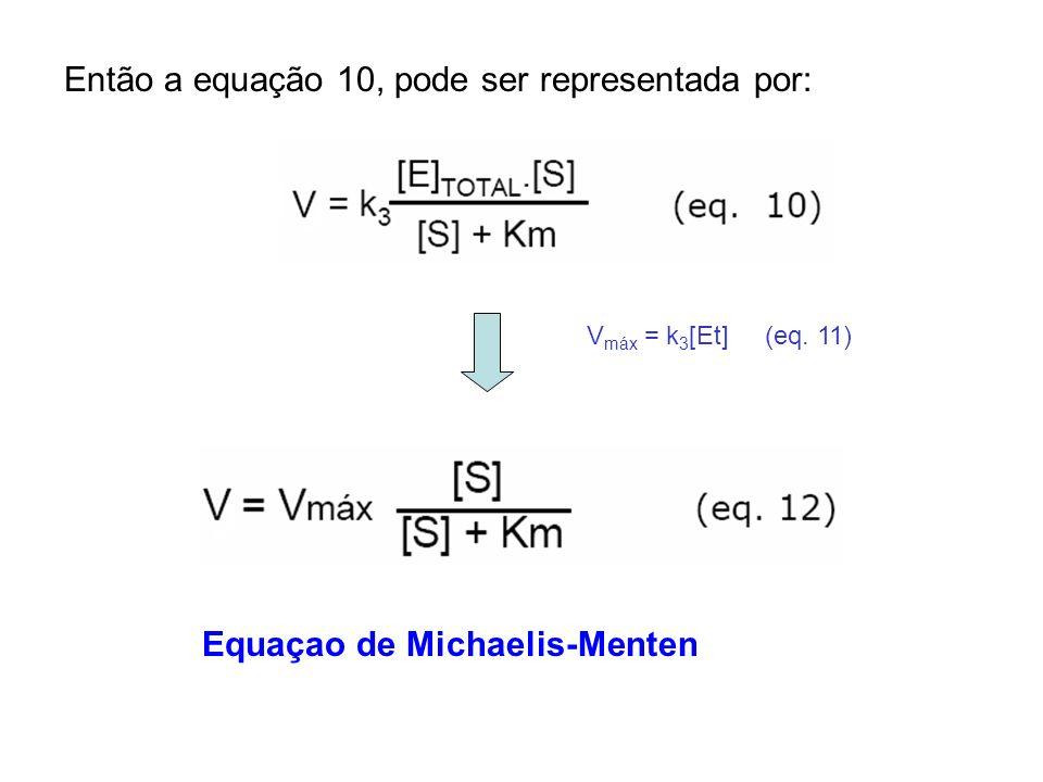 Então a equação 10, pode ser representada por: Equaçao de Michaelis-Menten V máx = k 3 [Et] (eq. 11)