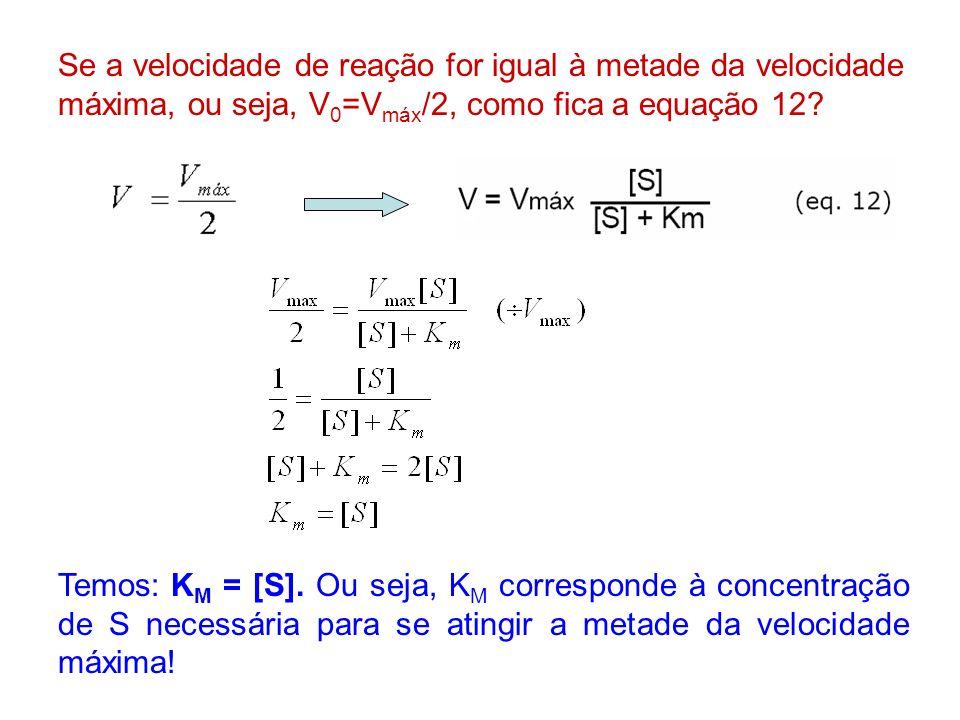 Se a velocidade de reação for igual à metade da velocidade máxima, ou seja, V 0 =V máx /2, como fica a equação 12? Temos: K M = [S]. Ou seja, K M corr