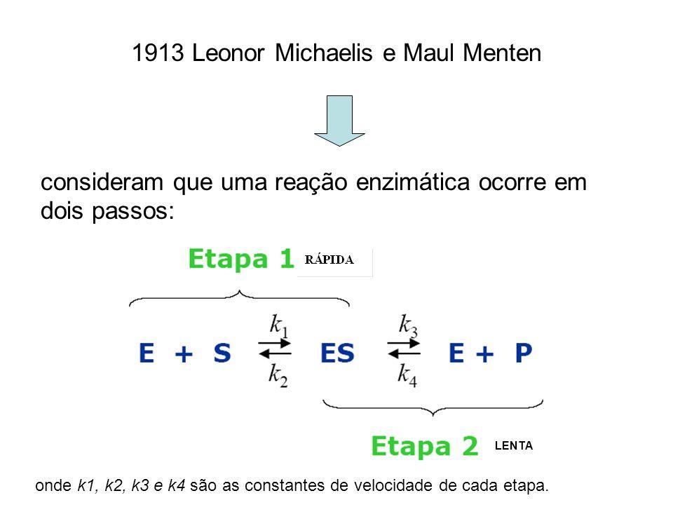 1913 Leonor Michaelis e Maul Menten consideram que uma reação enzimática ocorre em dois passos: onde k1, k2, k3 e k4 são as constantes de velocidade d