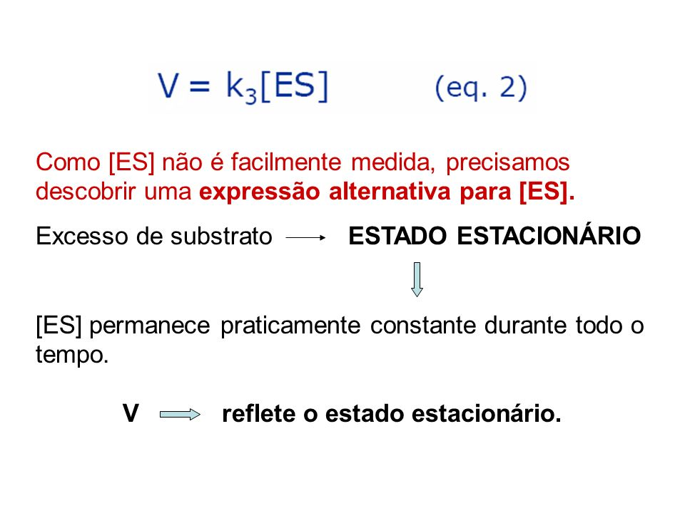 Como [ES] não é facilmente medida, precisamos descobrir uma expressão alternativa para [ES]. Excesso de substrato ESTADO ESTACIONÁRIO [ES] permanece p