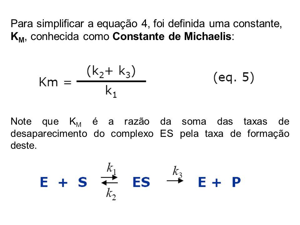 Para simplificar a equação 4, foi definida uma constante, K M, conhecida como Constante de Michaelis: Note que K M é a razão da soma das taxas de desa