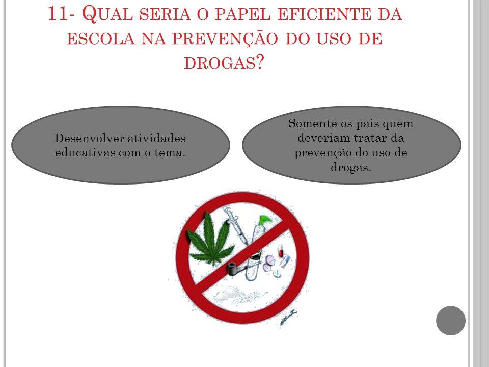11- Q UAL SERIA O PAPEL EFICIENTE DA ESCOLA NA PREVENÇÃO DO USO DE DROGAS ? Desenvolver atividades educativas com o tema. Somente os pais quem deveria