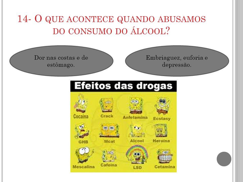 14- O QUE ACONTECE QUANDO ABUSAMOS DO CONSUMO DO ÁLCOOL ? Dor nas costas e de estômago. Embriaguez, euforia e depressão.
