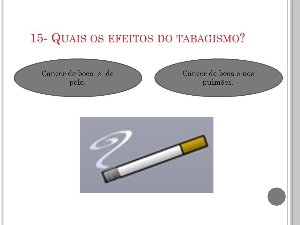 15- Q UAIS OS EFEITOS DO TABAGISMO ? Câncer de boca e de pele. Câncer de boca e nos pulmões.