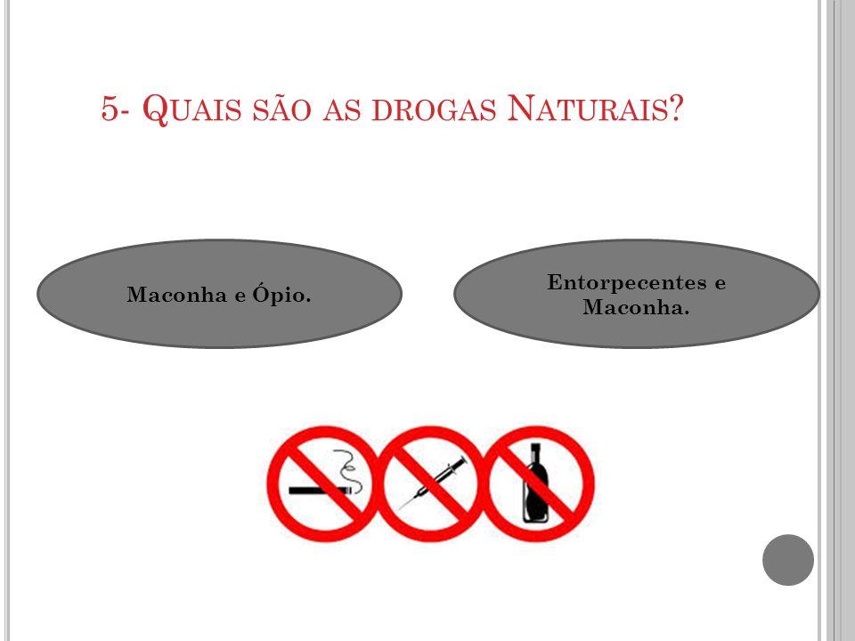 6- Q UAIS SÃO AS DROGAS S INTÉTICAS .Heroína, Ópio, Cafeína e LSD.