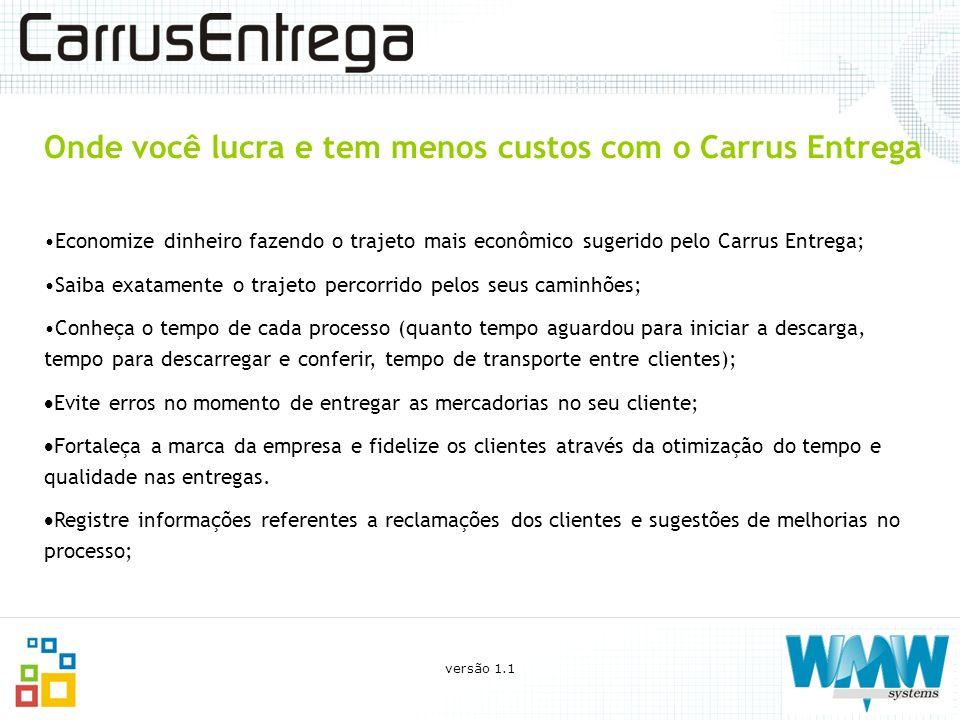 Onde você lucra e tem menos custos com o Carrus Entrega Economize dinheiro fazendo o trajeto mais econômico sugerido pelo Carrus Entrega; Saiba exatam