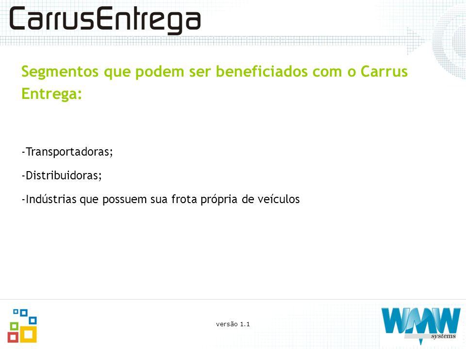 Segmentos que podem ser beneficiados com o Carrus Entrega: -Transportadoras; -Distribuidoras; -Indústrias que possuem sua frota própria de veículos ve