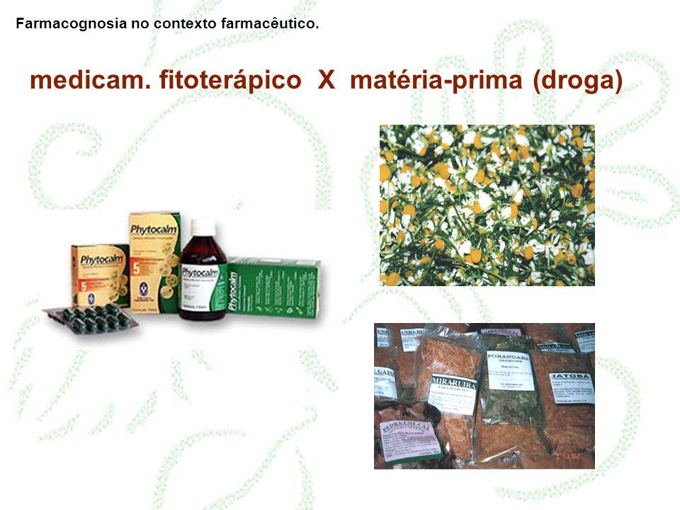 medicam. fitoterápico X matéria-prima (droga) Farmacognosia no contexto farmacêutico.