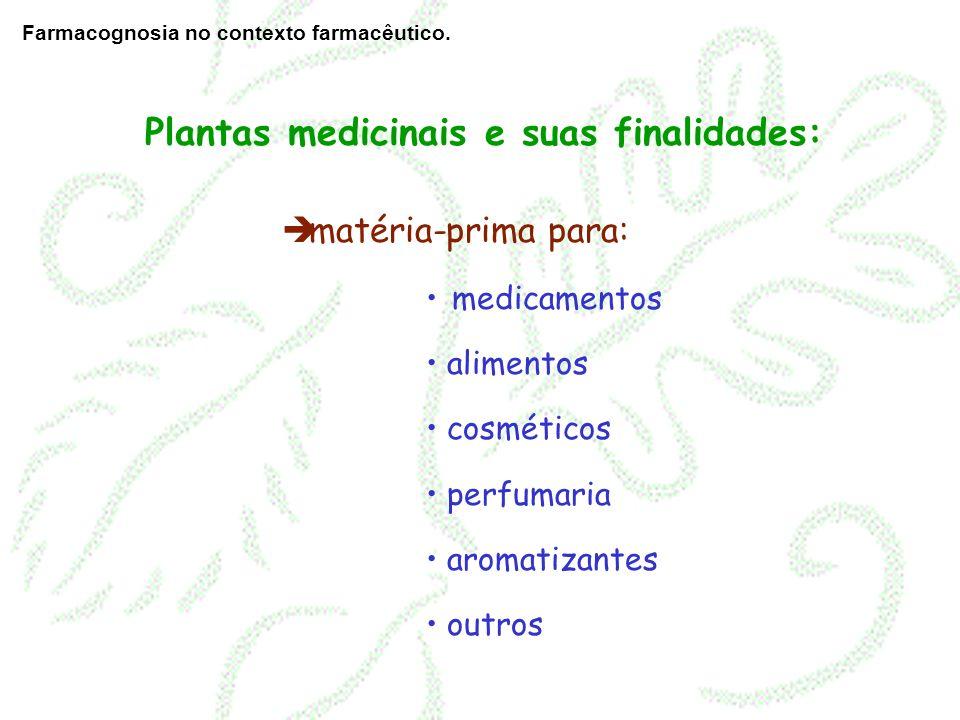 matéria-prima para: medicamentos alimentos cosméticos perfumaria aromatizantes outros Plantas medicinais e suas finalidades: Farmacognosia no contexto
