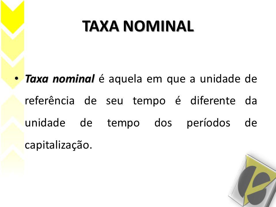 TAXA NOMINAL Taxa nominal Taxa nominal é aquela em que a unidade de referência de seu tempo é diferente da unidade de tempo dos períodos de capitaliza