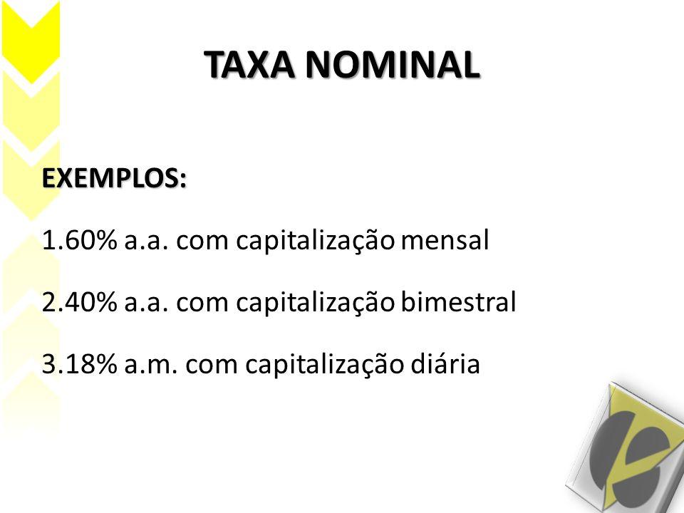 TAXA NOMINAL EXEMPLOS: 1.60% a.a. com capitalização mensal 2.40% a.a. com capitalização bimestral 3.18% a.m. com capitalização diária