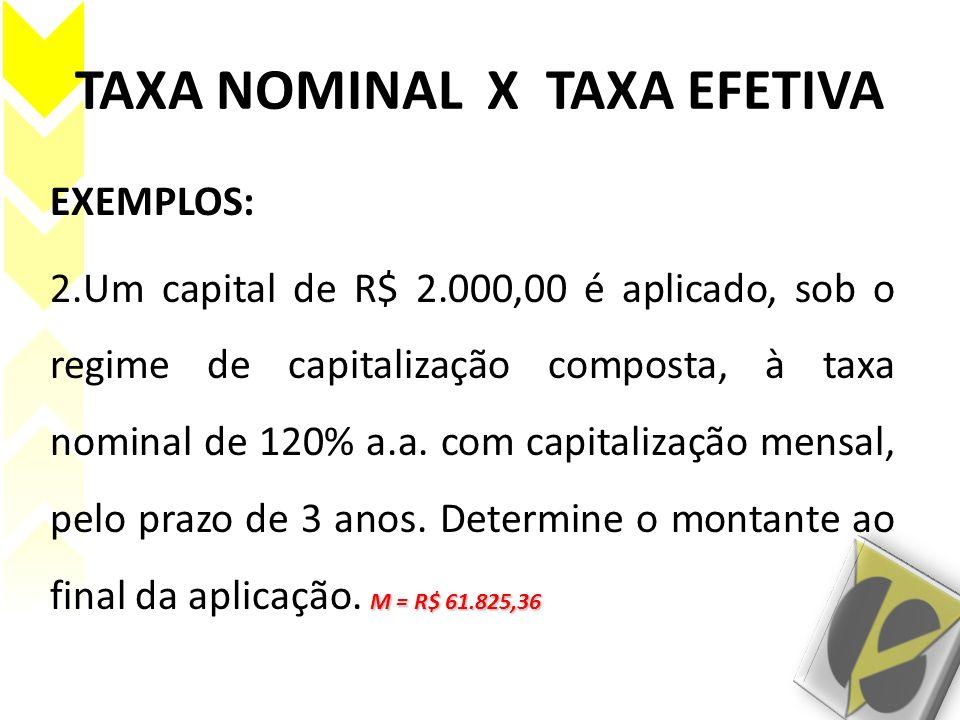 TAXA NOMINAL X TAXA EFETIVA EXEMPLOS: M = R$ 61.825,36 2.Um capital de R$ 2.000,00 é aplicado, sob o regime de capitalização composta, à taxa nominal