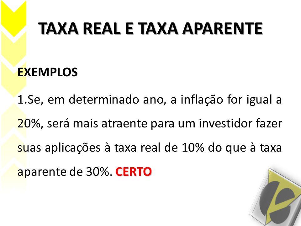 TAXA REAL E TAXA APARENTE EXEMPLOS CERTO 1.Se, em determinado ano, a inflação for igual a 20%, será mais atraente para um investidor fazer suas aplica
