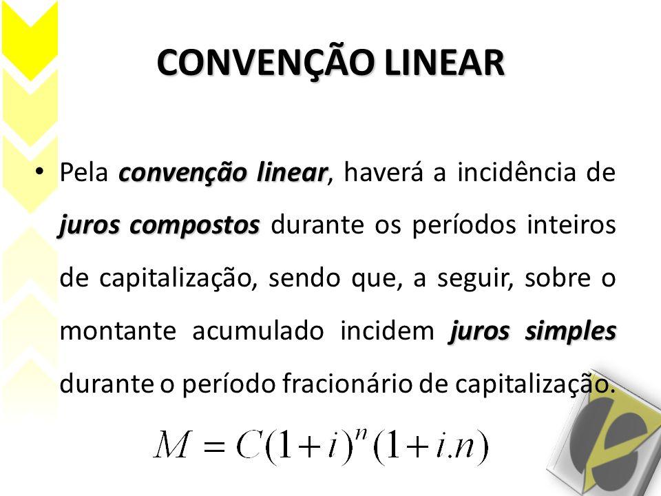 CONVENÇÃO LINEAR convenção linear juros compostos juros simples Pela convenção linear, haverá a incidência de juros compostos durante os períodos inte